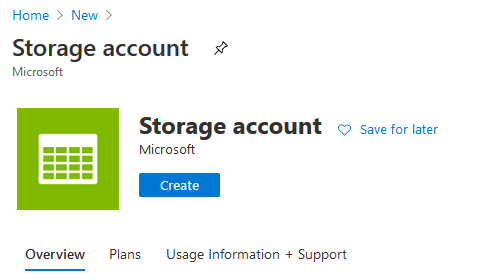 Create Stroage Account